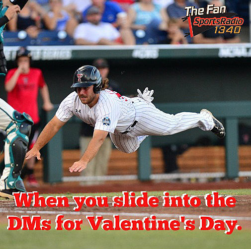Texas Tech baseball Valentine's Day card